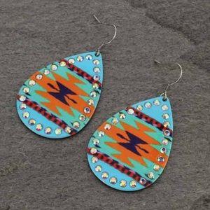 Aztec Printed Teardrop Fish Hook Earrings